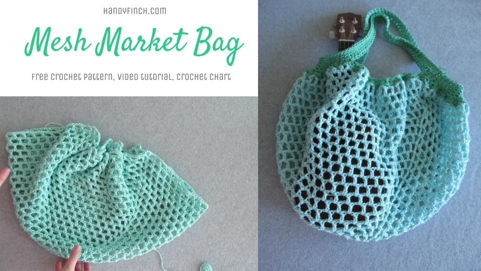 Simple Mesh Market Bag Free Crochet Pattern Handy Finch